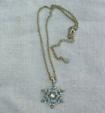 "Cookie Lee gold tone AB Rhinestone Snowflake necklace, 14"" rolo chain w/extender"