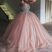 Ball Gown Quinceanera Dress Heavy Beaded Crystal Deep V Neck Sweet 16 Dresses