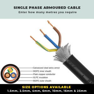 ARMOURED CABLE WITH COLOURED CORES 1.5MM-25MM SINGLE PHASE SWA CABLE PER METRE