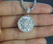 $6,500 14k White Gold Round Single Cut Baguette Diamond Circle Pendant Necklace