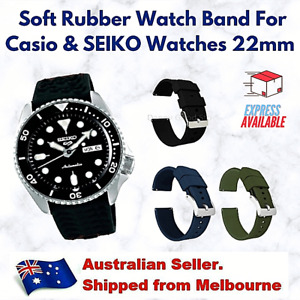 Black TPU Soft Rubber Replacement Divers Watch Band Strap For SEIKO Citizen 22mm