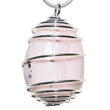 Charged Fluorescent Pink Mangano Calcite Crystal Pendant™ + 20