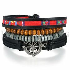 Tribal Braided 4pcs Set Rudder Leather Wrap Bracelet Stone Wood Beaded Bracelets