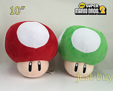 "2X Super Mario Bros. Plush Red Super Mushroom Green 1-UP Soft Toy Doll Teddy 10"""