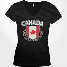Canada Shield Crest Coat Of Arms Country Canadian Born CA Juniors V-Neck T-Shirt