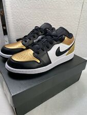 "Air Jordan 1 Low ""Gold Toe"" Black White CQ9447-700 Men's Shoes Size Sz 4.5Y"