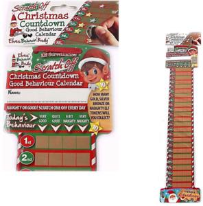 NAUGHTY ELF ADVENT CALENDAR Scratch Off Christmas Countdown Kids Novelty Elves