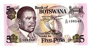 """Botswana ... P-11a ... 5 Pula ... ND(1992) ... Choice *UNC * ... Prefix """"C/25""""."""