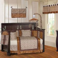 BabyFad 10 Piece Brown Leopard & Minky Baby Crib Bedding