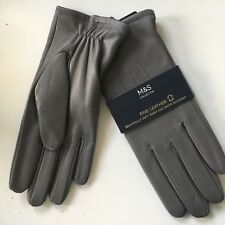 M&S Collection Ladies Leather Gloves Grey Size S