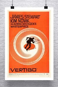 Vertigo Alfred Hitchcock Vintage Movie Poster Rolled Canvas Giclee 24x36 in.