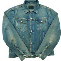 SISLEY Denim Jean Jacket MADE IN ITALY Distressed Faded Dark Blue Wash Men's L *