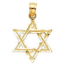 Real 14K Yellow Gold Star of David Jewish Vintage Small Pendant Charm