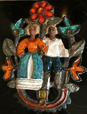 Zeer zeldzame mooie Perignem/Vandeweghe keramische wandplaat van man en vrouw