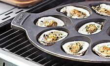 Oyster Grill Pan Cast Iron Nonstick Cookware Cook Kitchen Heavy Duty Half Shell