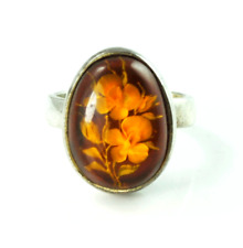 Sterling Floating Flowers Encased Solitaire Cocktail Ring 20mm Oval Sz 7.5