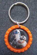 Star Wars Droids Bb8 R2D2 Orange Flat Bottle Cap Bling Key Chain Ring Charm Gift