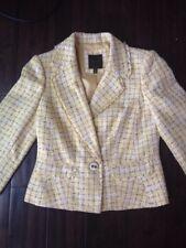 Yellow Boucle 3/4 Sleeve Suit Blazer Jacket Size 8