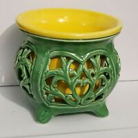 Vintage Asian Oriental Filigree Poppy Flower Pottery Vase Planter Green Yellow