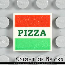 Lego Minifigure WHITE Tile 2x2 Red and Green Stripes Dark Green PIZZA Box