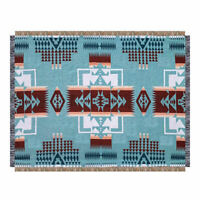 Large Blue Navajo Indian Cotton Rug Sofa Cover Throw Bed Blanket Picnic Tapestry