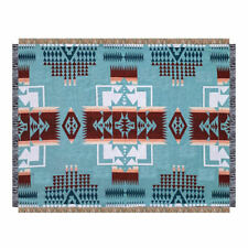 Large Navajo Indian Cotton Rug Sofa Cover Throw Blanket Picnic Tapestry Blue AU