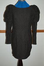 NEW Sz 10-12 Black Lace Check Wiggle dress Puff Sleeve - slim long button cuffs