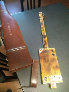 Three strings CIGAR BOX Guitar Electric / Acoustic + vintage leather hard case