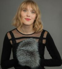 Knitted Wool Women Mittens / Gloves With Genuine Real Silver Fox Fur