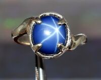 Natural Oval Star Blue Sapphire 925 Sterling Silver Ring Gemstone Ring Size 5-10