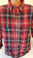 RedHead Mens XL Red Plaid Flannel Fleece Lined Sherpa Shirt Jacket Barn Coat