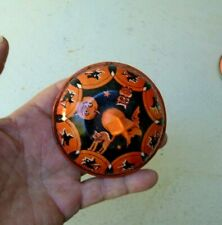 Vintage Halloween Tin Lithograph Noise Maker ORANGE BLACK