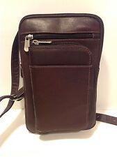 "Men's or Women's Piel Leather Shoulder Bag 4 Zippered Sections 6x10x1"" Passport"