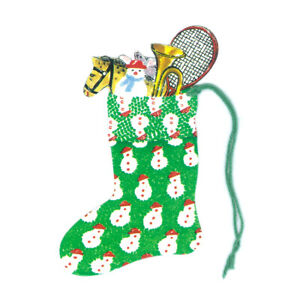 Pack of 5 Courtier Snowman Christmas Stocking Gift Tags Ref 640se21
