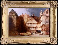 WILLIAM CALLOW (1812-1908) SIGNED ENGLISH OIL CANVAS - FIGURES IN TOWN SQUARE