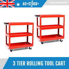 2x 3 Tier Tool Parts Trolley Cart Storage Warehouse Workshop Heavy Duty Shelf