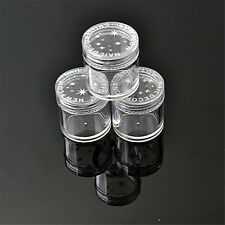3pcs Plastic Round Jars Pots Nail Art Glitter Powder Make-up Bottle Case Storage