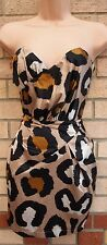 LIPSY PIXIE LOTTE BEIGE BROWN LEOPARD BANDEAU TULIP BODYCON TUBE DRESS 8 UK