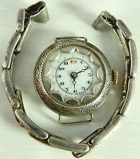 Antique Swiss silver wristwatch, silver expanding bracelet Not In Working Order