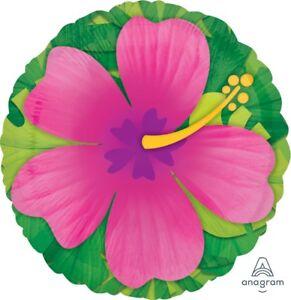 "Anagram Tropical Hibiscus Hawaiian Luau Jumbo 28"" Foil Balloon, Pink Green"