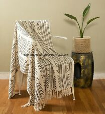 Bed Throw Blanket For Travel Winter Soft Warm Cover Sofa Cotton Hand Block Print
