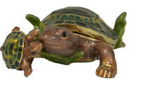 Pewter Mother & Baby Turtle Figure with Matching Necklace Inside Jewelry Trinket