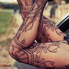 Sexy Black Lace Hollow Fishnet Pantyhose Slim Tight Tattoo Sheer Stockings Women