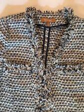 New ELLEN TRACY Black Ivory Navy eyelash tweed boucle jacket XS $140+