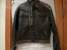 RINGSPUN MEN'S STUDDED VINTAGE LOOK FITTED LEATHER JACKET MADE IN ENGLAND SIZE M