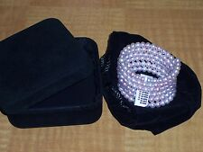 6 row Pink Round Lustrous Freshwater Pearl Bracelet with Sterling Silver Coil