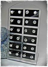 NEU 12 Paar OHRSTECKER 5mm STRASSSTEINE in kristallklar/klar OHRRINGE