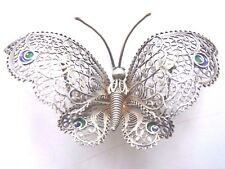 Spanish silver shooting star hallmarked enameled 3D butterfly pin