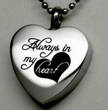 ALWAYS IN MY HEART Cremation Jewelry Silver Urn Necklace Memorial Keepsake @