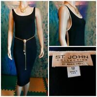 ST. JOHN Collection Santana Knit Black Dress L 12 10 Cream Trim LBD